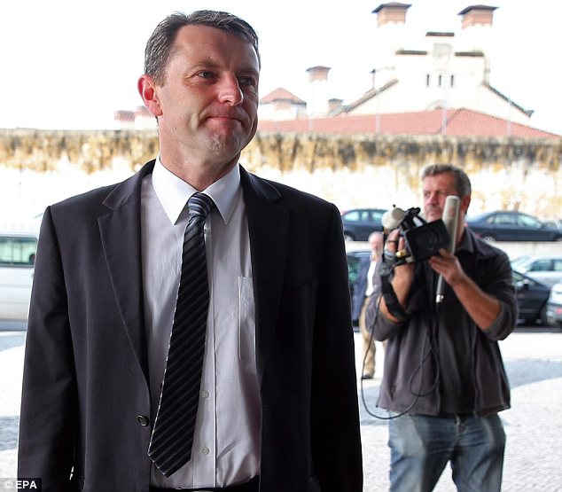 Hearing: Gerry McCann arrives at court in Lisbon as he aims to testify against police chief Goncaro Amaral