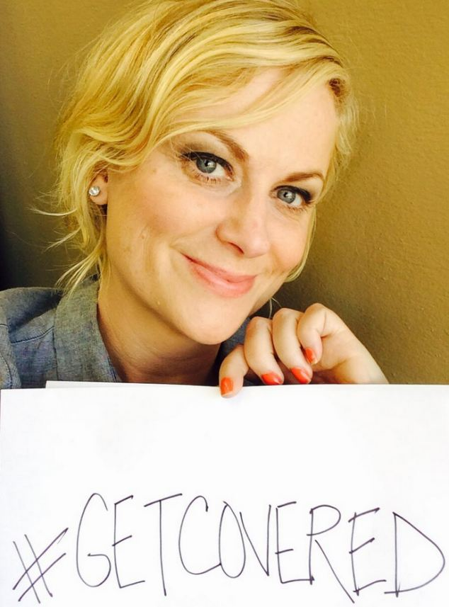 Hashtag fun: A clothed Amy Poehler joined other celebs to encourage a mass rush to Obamacare on its first day of open enrollment -- a strategy that hasn't worked so far