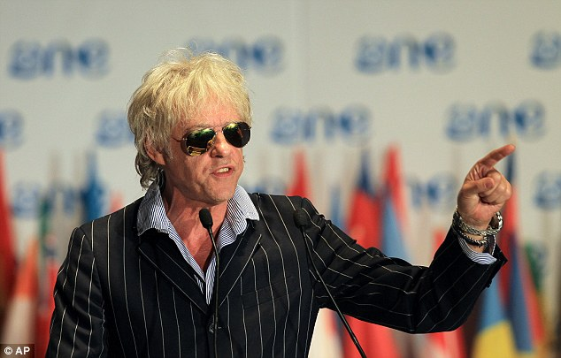 Concern: Mr Geldof warned of 'a mass extinction event' and that his generation has let down today's youth