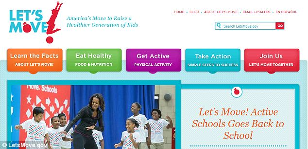 Up and running: Michelle Obama's healthy living website makes no mention of being hindered by the shutdown