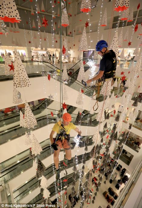 John Lewis Christmas decorations are put up at London store 79 DAYS before December 25th