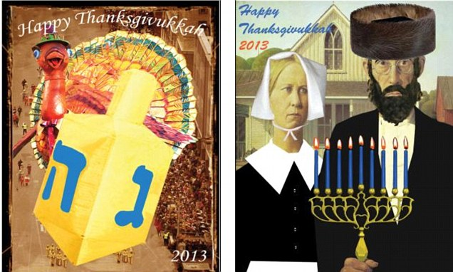 In a rare convergence of the calendar, Thanksgiving and the first day of Hanukkah, the eight-day Jewish festival of lights, fall on the same date this year: November 28.