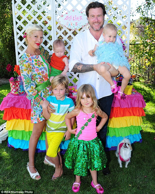 Infidelity scandal: But there was no sign of the 90210 veteran's two-year-old daughter Hattie, 21-month-old son Finn, or estranged husband Dean McDermott