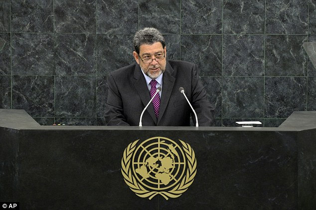'Awful legacy': In a speech at United Nations General Assembly last month (above), Prime Minister of Saint Vincent and the Grenadines, Ralph Gonsalves, said European nations must pay for the slave trade