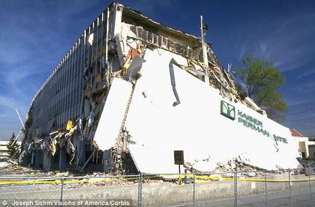 Destroyed: This iconic image from the 1994 Northridge quake shows the concrete Kaiser Permanente building that sat near the epicenter of the 6.7 temblor