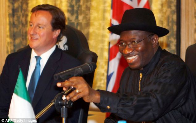 Deal: David Cameron, who promised to help Nigeria improves its jails, hopes to strike a deal with Nigerian President Goodluck Jonathan
