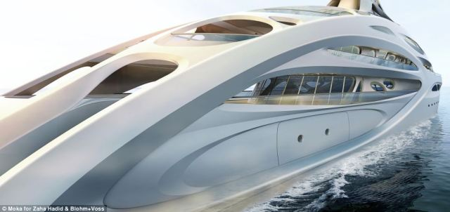 Sleek: The upper 'mesh-like' structure of the stunning design connects the different decks of the 90m vessels