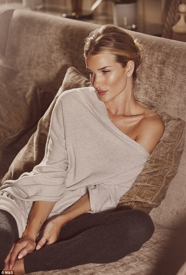 Go to bed with Rosie: Rosie Huntington-Whiteley has unveiled her new sleepwear range with M&S but still finds it hard to get her head around the idea that she is considered a sex symbol