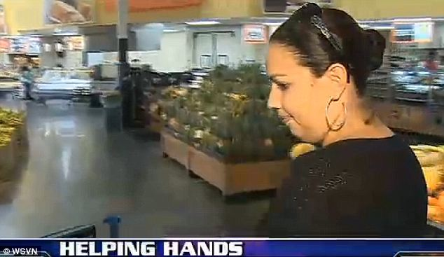 Generosity: Since news of her story has spread, Robles was given $700 more to buy groceries with from concerned community members and got to keep the leftover cash