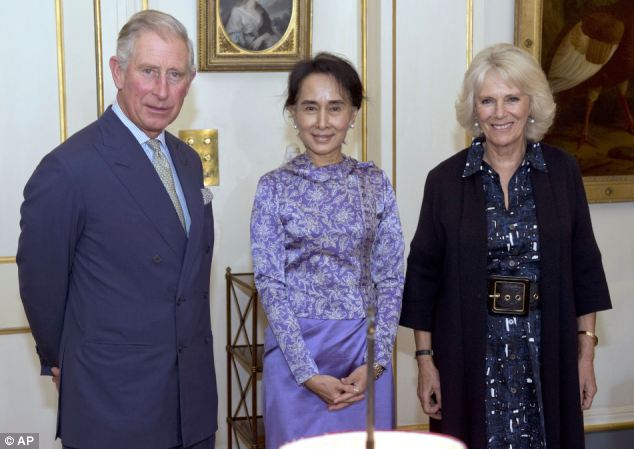 Aung San Suu Kyi met Prince Charles and the Duchess of Cornwall at Clarence House during a visit to the UK
