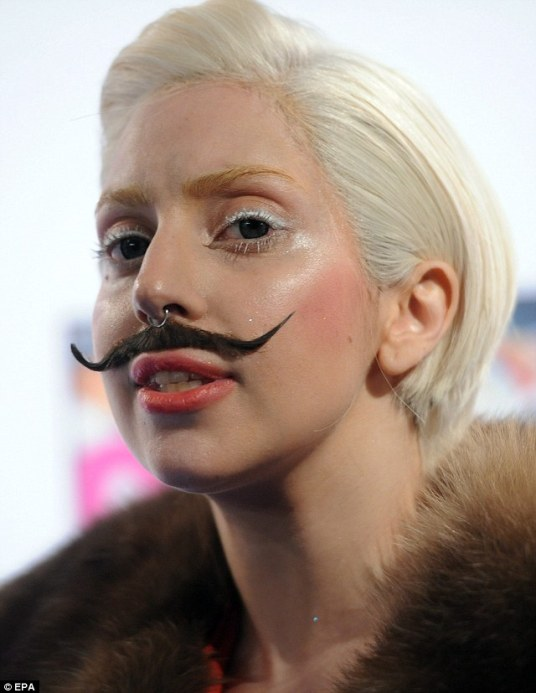 Laday Gaga with mustache