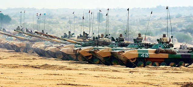 Storming the sand: The Indra-13 exercise in Rajasthan saw live firing by T-72 tanks