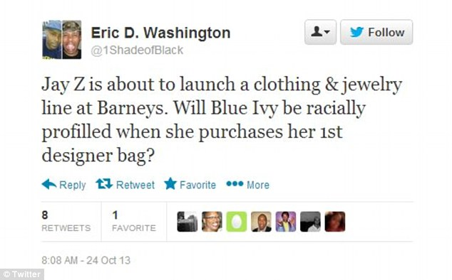 Evocative: This Twitter user tries to invoke Jay-Z's paternal instincts by questioning how he would feel if his daughter was racially profiled as it is alleged the NYPD and Barneys profiled two black customers