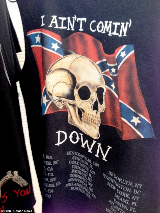 His most controversial move yet? Kanye West has emblazoned his Yeezus tour merchandise with the confederate flag, pictured at his pop-up store next door to fiancee Kim Kardashian's DASH boutique in LA