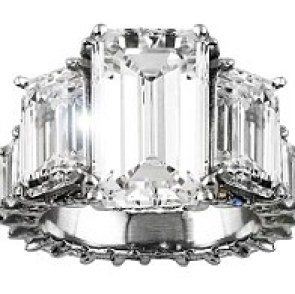 15 carats: Future designed the stunning piece of jewellery with jewellers from Avianne & Co and named it Past Present and Future Emerald Cut Diamond Ring