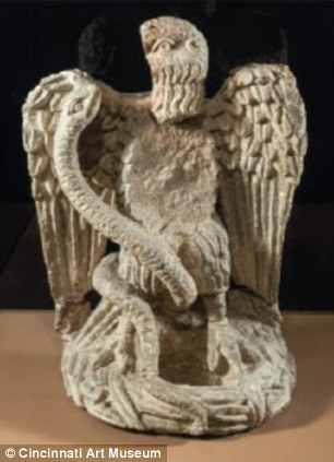Eagle and serpent sculpture