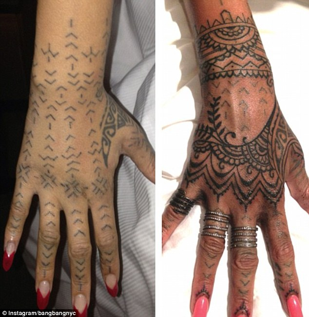 Before and after: Tattoo artist Keith McCurdy says he thinks he made her tribal art work 'pretty'