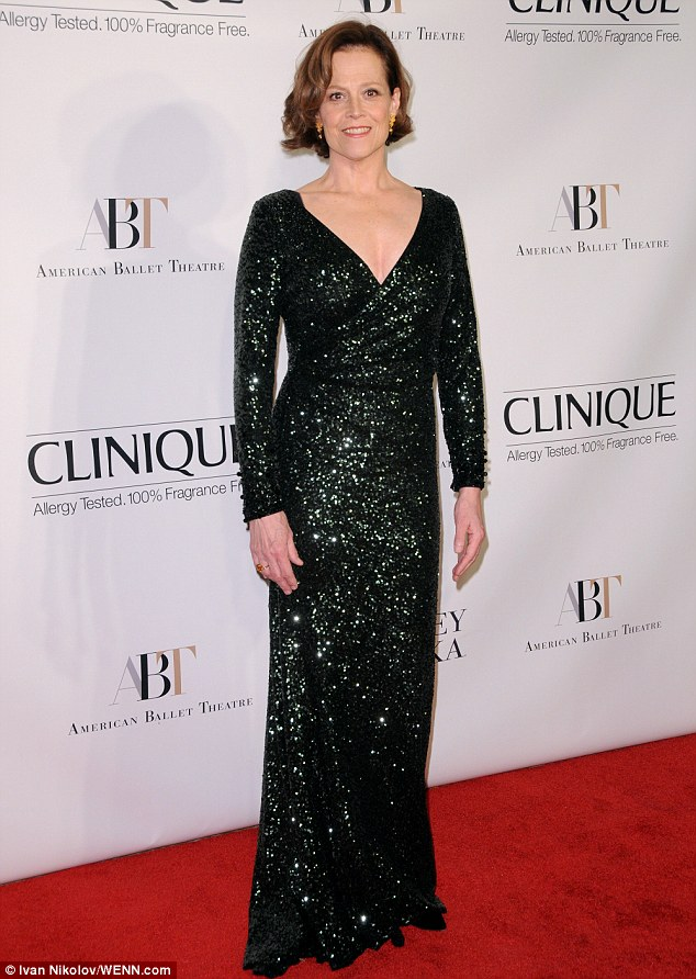 Sigourney Weaver 64 takes the plunge in black sequin