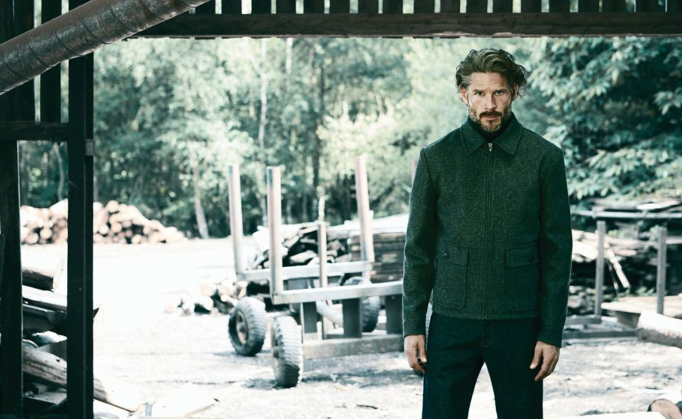 The shoot took place on Ministry of Defence training land in the summer (Noah is pictured wearing Bomber Jacket, £195, Roll Neck Jumper £85, Cotton Twill Trousers £89)