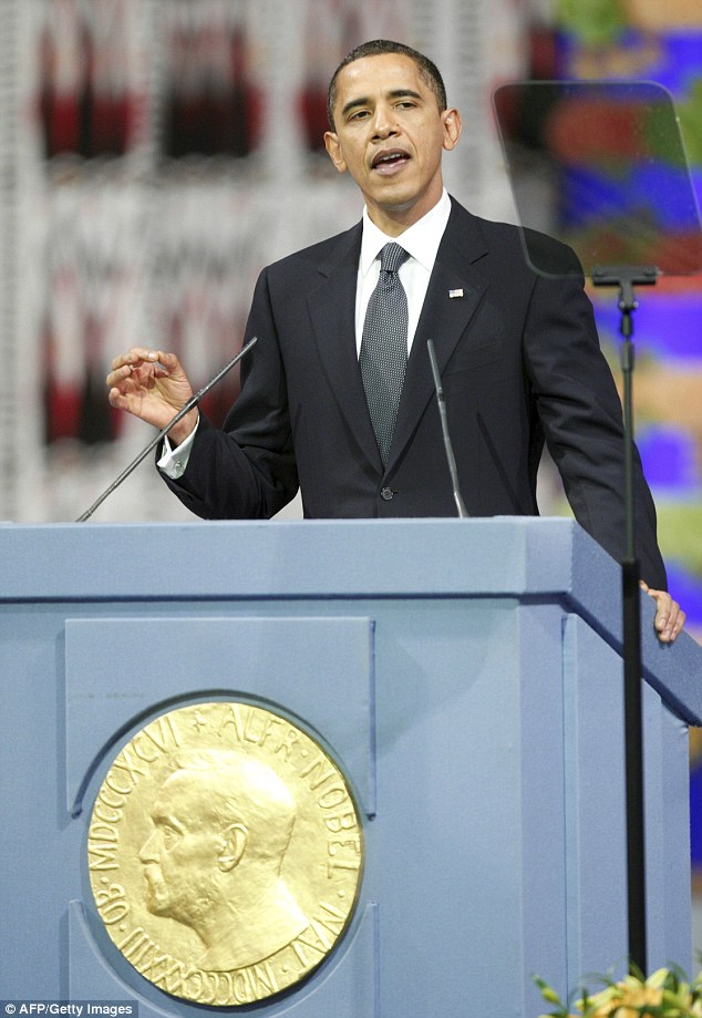 Obama was given the Peace Prize in 2009, less than a year into his presidency, for his aspirations of nuclear disarmament
