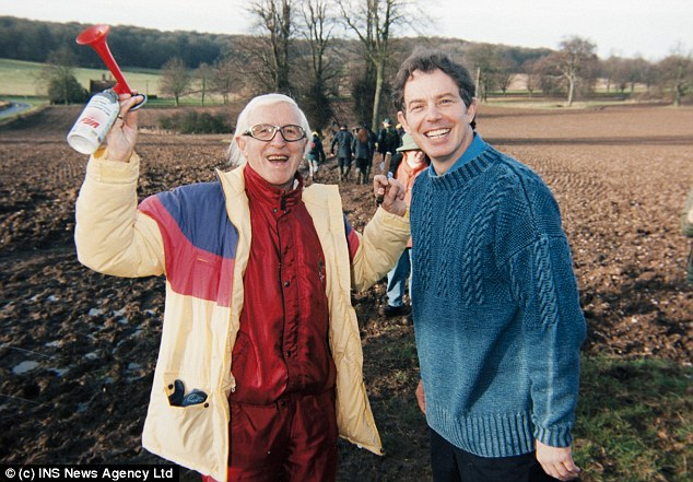 Powerful friends: Jimmy Saville with then Prime Minister Tony Blair in 1998. The event at Chequers took place a year later