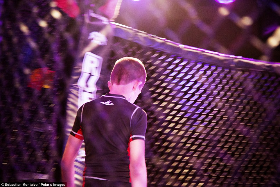 Parker, Arizona, United States: A Pankration fighters enters the cage during a United States Fight League Pankration All-Star tournament held at the BlueWater Resort and Casino