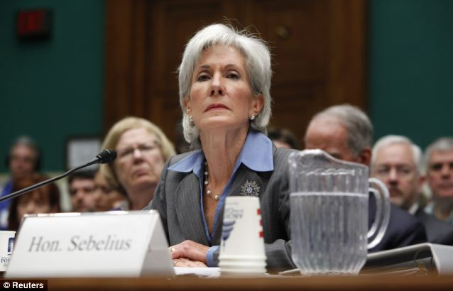 Game change: HHS Secretary Kathleen Sebelius was left holding the bag as Obamacare's online launch fell apart, and may keep catching spears for Obama as Americans become more frustrated with insurance cancellations