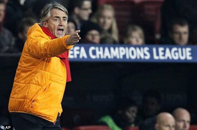 Beaten: Mancini was unable to guide Galatasaray to victory on Tuesday as they lost 1-0 in Copenhagen