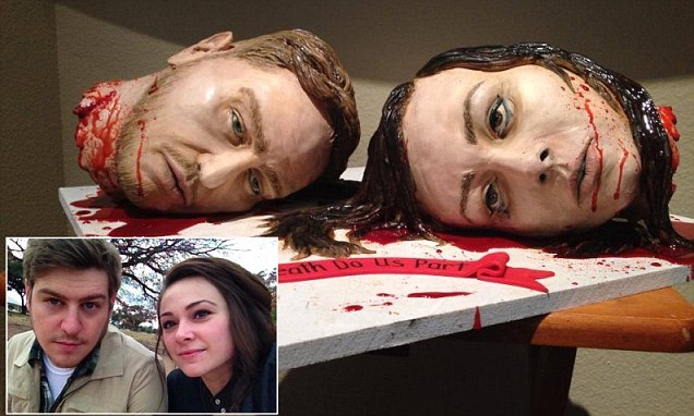 Till death do us part Couple create gruesome wedding cake made of their own bloody severed