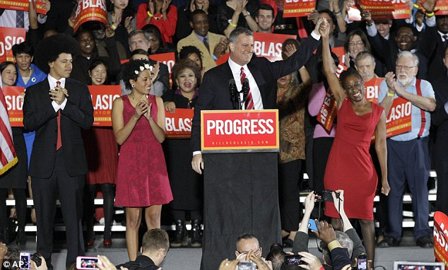 Landslide: Bill De Blasio cruised to victory on Tuesday night - becoming the first Democratic mayor in a generation