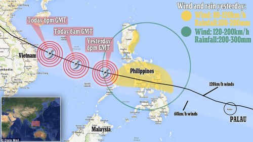 Disaster zone: This map shows the trajectory of the devastating storm as it heads towards Vietnam