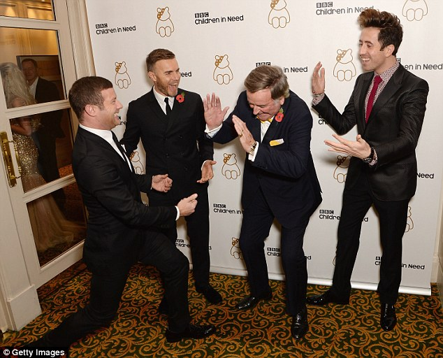 Playful: Barlow appears to be sharing a joke with Sir Terry Wogan, Dermot O'Leary and Nick Grimshaw