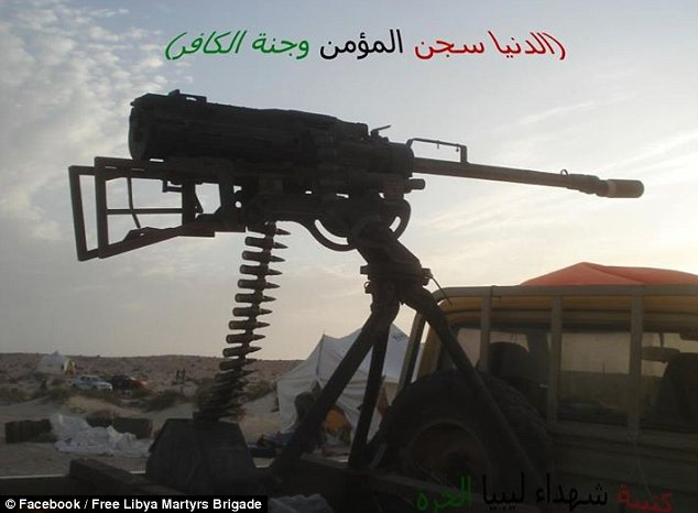 A truck-mounted heavy machine gun belonging to Katiba al-A'hrar Libya -- 'Libya shield' -- a group the State Department trusted to help secure the Benghazi compound