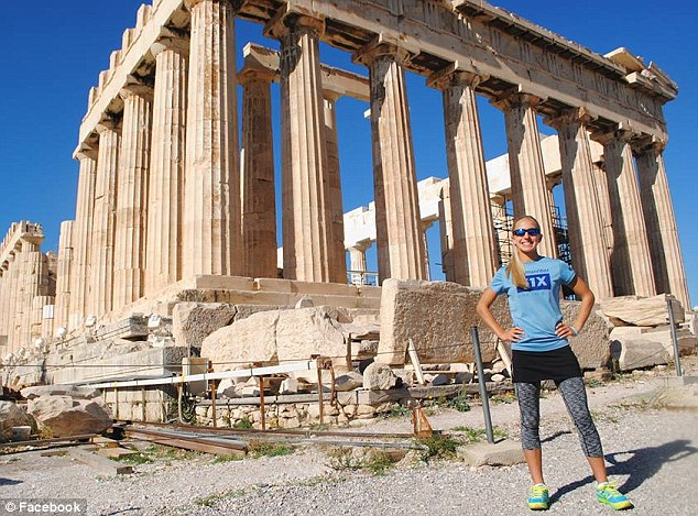 Winter Vinecki broke the record for completing a marathon on every continent by finishing up in Athens, Greece (pictured before the race)