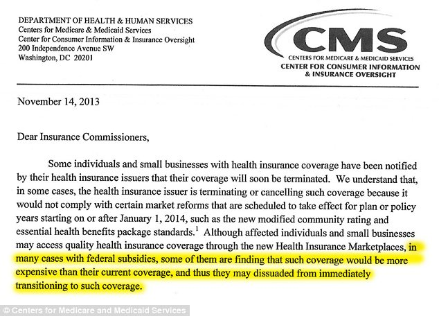 Smoking gun: The Obama administration has admitted that 'in many cases,' insurance policies offered through Obamacare cost more than consumers' previous plans, even when they get federal government subsidies