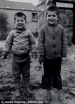 Kevin and Rex Wilton at their childhood home in Cornwall in the 1960s. The pair were sent to Tazmania as children but lost contact shortly after arriving