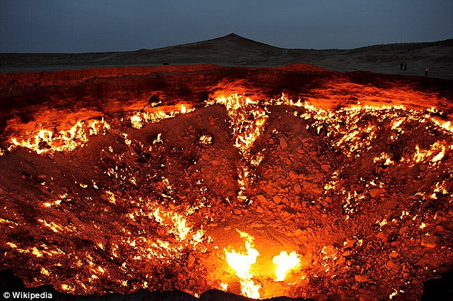 Explosive: Natural gas building up in the sinkhole could cause it to ignite like this one in Turkmenistan