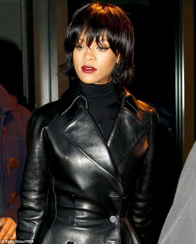 Rihanna Shows Off New Bob Haircut In Sexy Leather Outfit