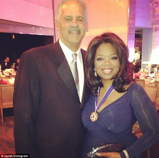 Meet my honey! Oprah Winfrey shared this snap of her and her fiancé Stedman Graham , whom she called her 'HoneyGraham,' from the Medal Of Freedom dinner