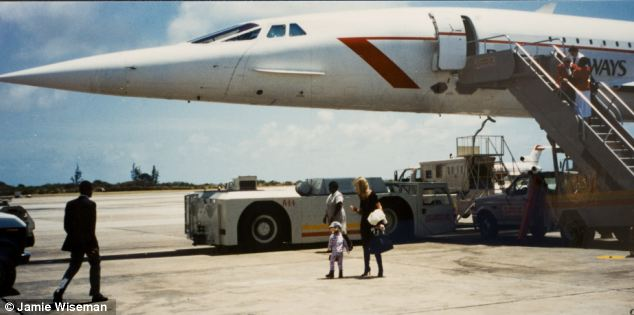 Life of luxury: Michelle Young pictured on the runway in Barbados with Scot and their daughter after their flight on Concorde, she told the trial they went on four exotic holidays a year