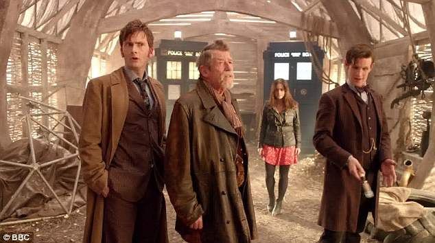 The 50th anniversary who featured several Doctors, including (from right to left) Matt Smith (the current Doctor), John Hurt (the War Doctor) and David Tennant (the Cockney Doctor)