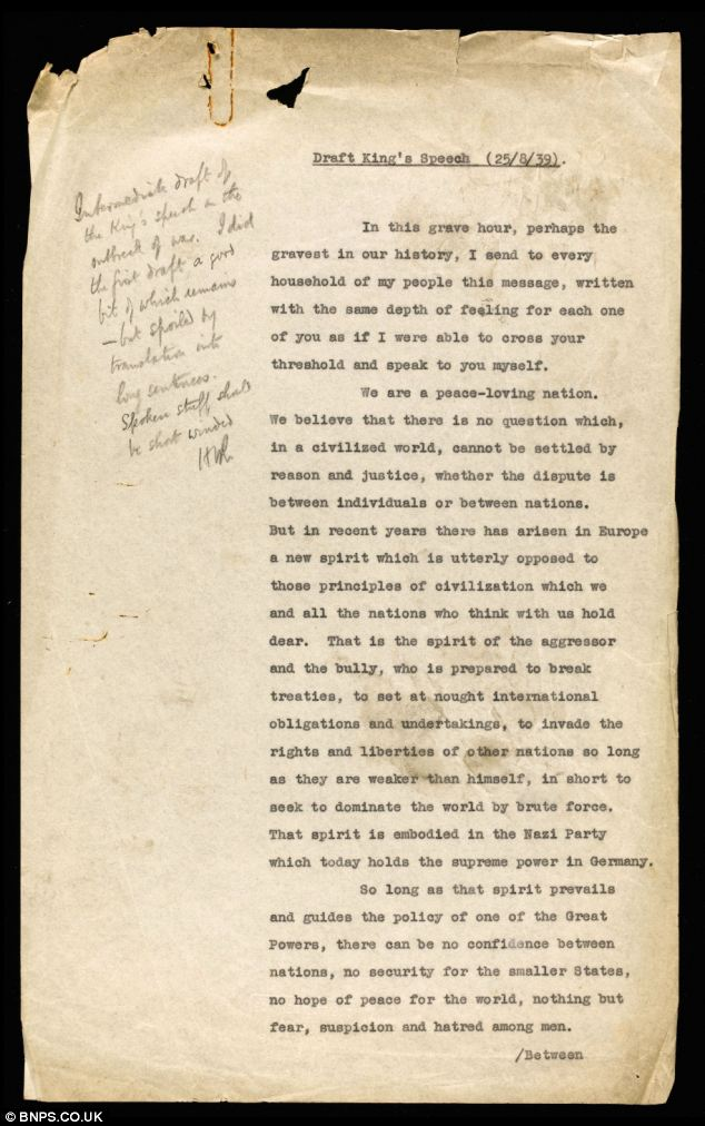 This early draft of the King's Speech, announcing the outbreak of war, was criticised for being too long-winded