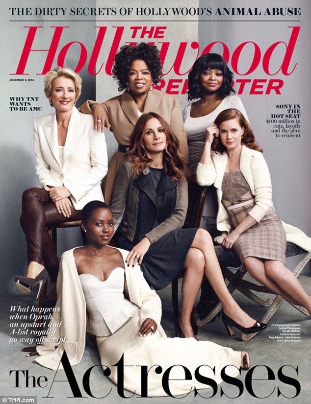Oscar hopefuls: (clockwise from left) Emma Thompson, Oprah Winfrey, Octavia Spencer, Amy Adams, Julia Roberts and Lupita Nyong'o grace The Hollywood Reporter's annual The Actresses issue