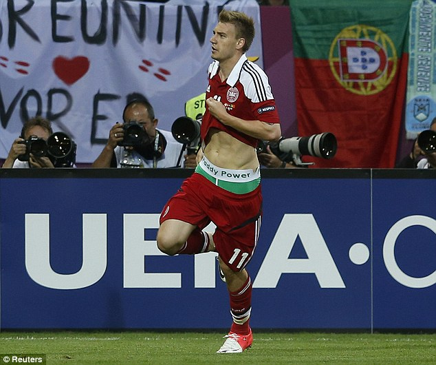 Big fine: Bendtner was fined £80,000 for displaying Paddy Power branded underwear at the European Championships
