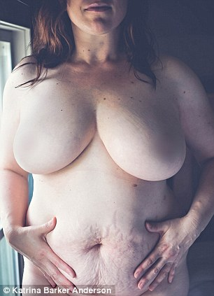 Kathy, pictured, said she wanted to show off her 'abdomen so stretched by seven pregnancies,' her 'lopsided breasts' and 'upside-down butt that was flat and round in all the wrong spots'