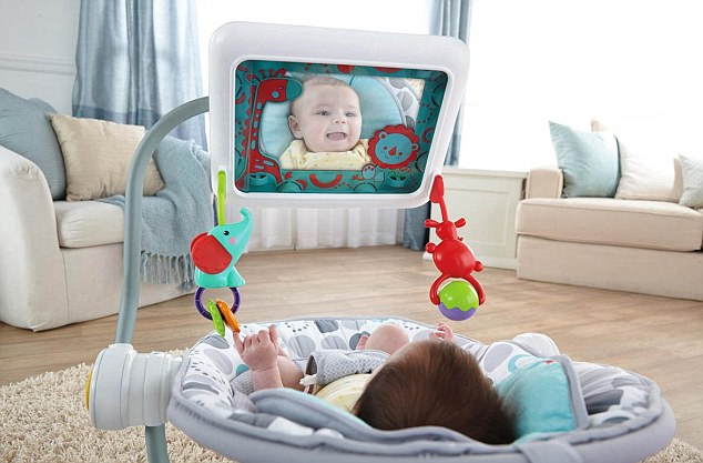 baby bouncy chair age grey tufted dining new baby's seat complete with ipad holder | daily mail online
