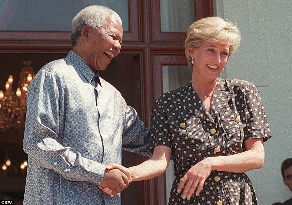 Mandela and Princess Diana speak with the press after meeting in the Mandela's home, Genadendal, in Cape Town, South Africa