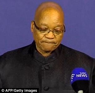 An image grab shows South African President Jacob Zuma holding a press briefing to announce the