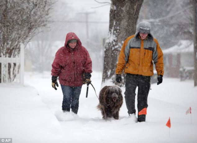 Staying warm: Amy Grace walks her dog, Evelyn, with Aaron Mihalevich in Springfield, Missouri on Friday
