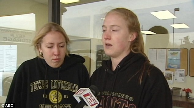 Devastated: Friends Sarah Davis (left) and Annie Jones (right) speak of their disbelief at the shooting of Cameron Redus